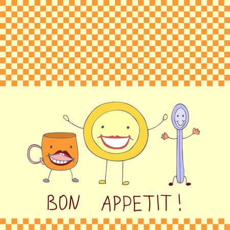 Plate, spoon and Cup in a cartoon style on a checkered background and the inscription Bon appetite