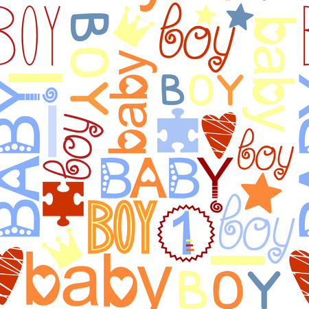 babyish: seamless colorful kids pattern with label Baby Boy