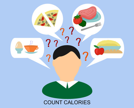 heath: male silhouette with a day diet and question marks and the words to Count calories