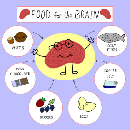 mental activity: info graphics on the topic of Proper nutrition for the brain Illustration