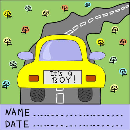its a boy: Childrens background with moving car on the road and words Its a boy Illustration