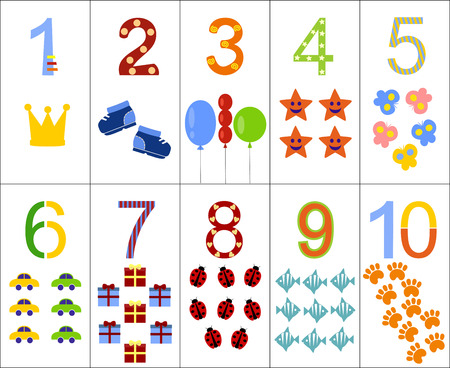 ten: The numbers from one to ten, arranged in order