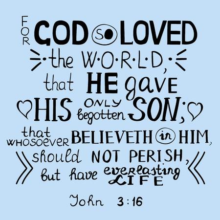 testament schreiben: Goldene Bibel Vers f�r Gott liebte so die Welt, Johannes 3:16 Illustration
