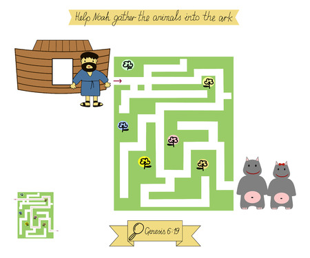 Homework for kids. Maze to Help Noah gather animals into the ark. Genesis - flood. Sunday school.