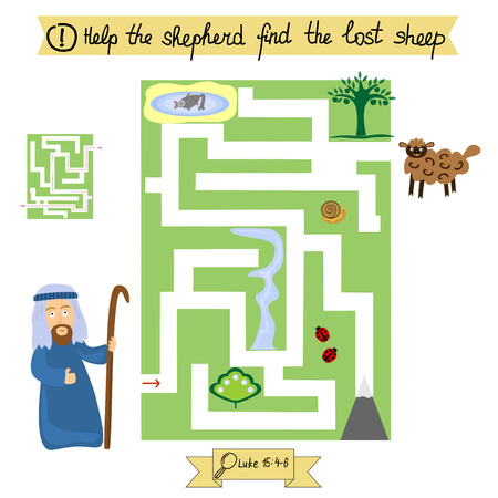 Job for children complete the maze and find lost sheep. Sunday school. A biblical story.