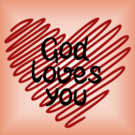 Handwritten, God loves you, done in red heart
