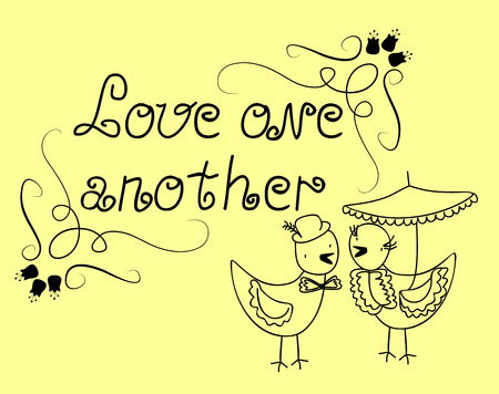 marital: The inscription Love one another next to two love birds