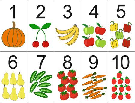 score of one to ten, located next the desired quantity fruit or vegetables. Preschool education. Vektoros illusztráció