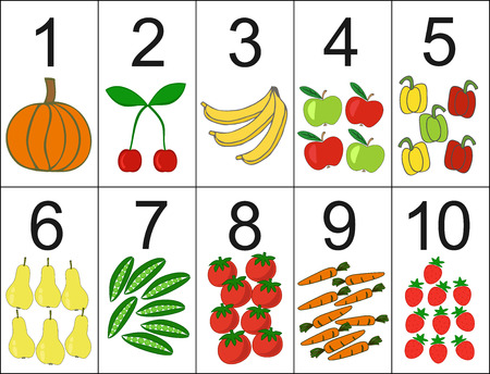 quantity: score of one to ten, located next the desired quantity fruit or vegetables. Preschool education.