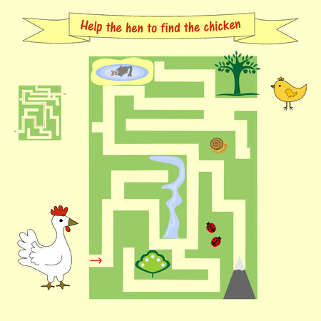 jumble: Kids homework How help a hen to find the chicken. Preschool education. Board game