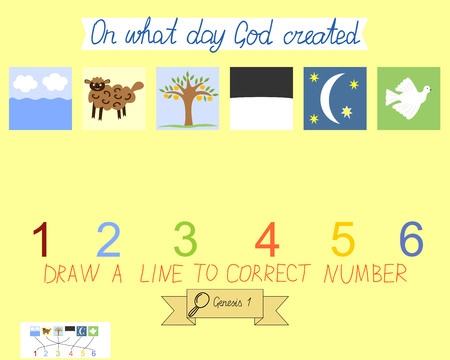 sunday school: Task for children how to place days of creation. Book Of Genesis. Creation of the world. Sunday school