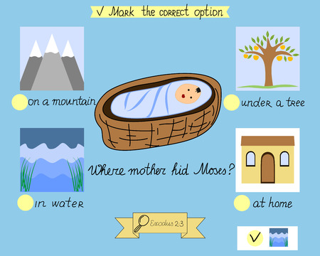 Task for the children which was hidden little Moses. A biblical story. Sunday school. Old Testament  イラスト・ベクター素材