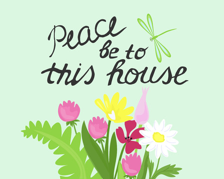 Bible Lettering Peace To This House, Made Next To A Bouquet Of Wild Flowers  Vector