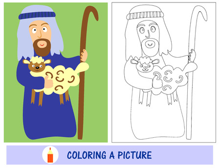 sunday school: Homework for kids how to paint a shepherd with lamb. Sunday school. Biblical story.