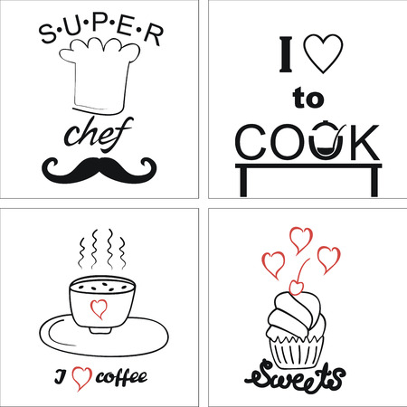 steam cooker: Four on the theme of cooking and food with inscriptions