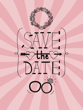 Pink wedding background with radiating rays, rings, wreath and words Save the date Illustration