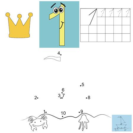 practice primary: Children s math homework. Digit one. Points ship. Kids job