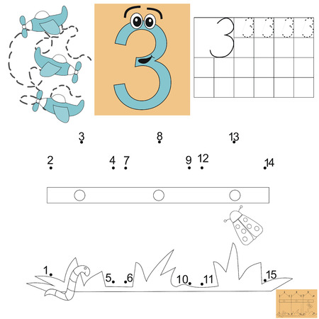 practice primary: Task for children in mathematics. Figure three. Connect dots and paint the fence. Kids job