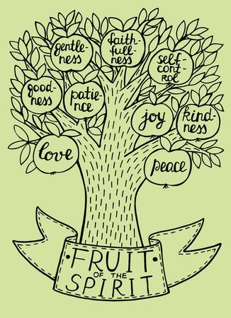 Bijbelse illustratie van het nieuwe Testament vrucht van de Geest. Fruitboom met fruit