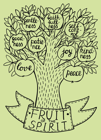 Biblical illustration from the new Testament fruit of the spirit. Fruit tree with fruit