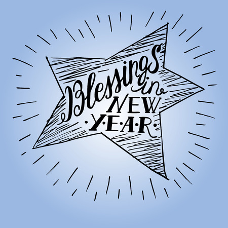 new testament: Hand lettering made in shape of a star with the inscription of Blessings in new year Illustration