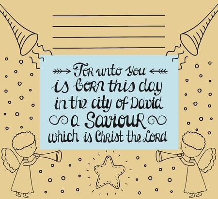 testo biblico con iscrizione di Natale è nato un Salvatore che è il Cristo Signore in fondo con gli angeli che cantano con le trombe e le stelle. Nuovo Testamento. lettering a mano