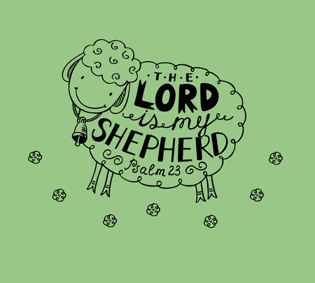 Hand lettering made in sheep with a bell. The Lord is my shepherd. Biblical background Illustration