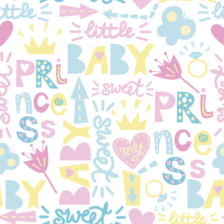 girlish: Seamless baby pattern with inscriptions Princess, Sweet, Baby with hearts, crowns, flowers. Girlish style. Childrens background.