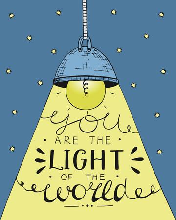白熱電球と星の背景は、世界の光をレタリングの手。聖書の背景。キリスト教のポスター。