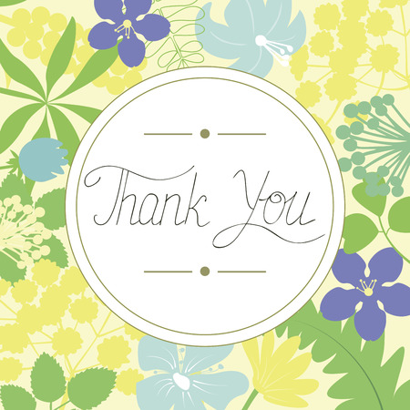 Inscription Thank you made in the circle on a floral background. Greeting card. The expression of feelings