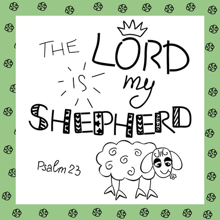 The inscription the Lord is my shepherd, near the sheep. Biblical background. Christian poster. Psalm 23. Sunday school. Children s Ministry. Vettoriali