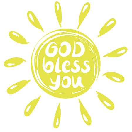 Hand lettering God Bless you with a yellow circle with rays. Biblical background. Christian poster. Postcard Illustration
