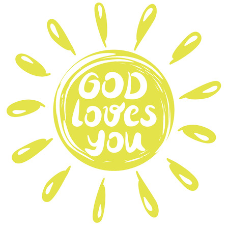Hand lettering God loves you, performed in a yellow circle with rays. Biblical background. Christian poster. Illustration