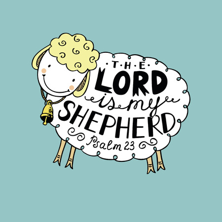 Hand lettering made in sheep with a bell. The Lord is my shepherd. Biblical background. Psalm 23