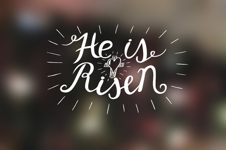 Hand lettering He is risen with a cross. Biblical background. Easter. Sunday. Christian poster. New Testament.