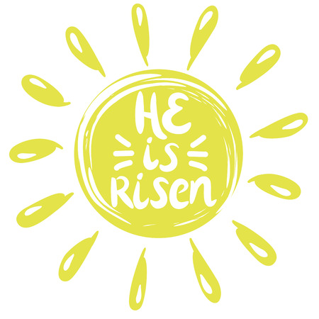 Lettering He is risen, done in a yellow circle with rays. Easter. Sunday. The Christian background Ilustrace