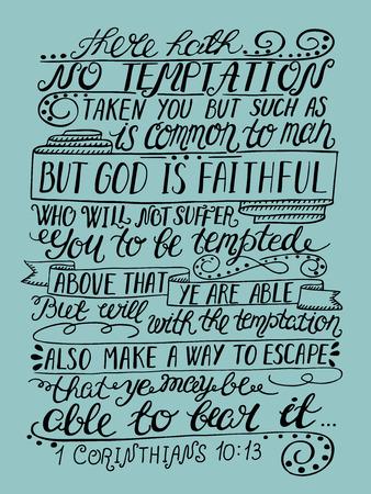 Hand belettering De verleiding is niet niets, maar de mens en de ware God ... vers van de Bijbel. Christian poster. Nieuwe Testament. moderne kalligrafie Vector Illustratie