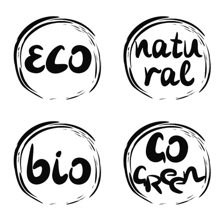 Four logo with inscription bio, natural, go green, eco. Label Trading symbol