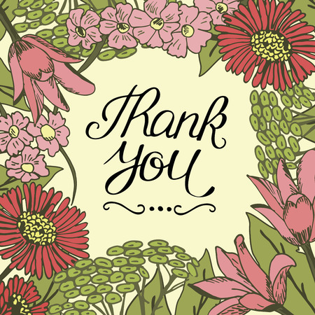 Inscription Thank you made on floral background. Greeting card. Expression of feelings. Poster