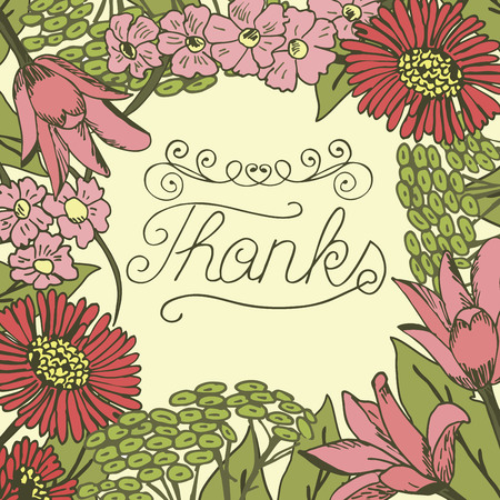 Inscription Thanks made on floral background. Greeting card. Expression of feelings. Poster.