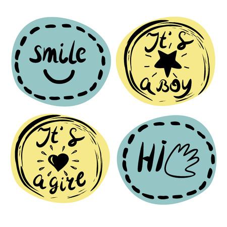Vier Kinder s Logo mit Handschrift. Smile Es ist ein Junge Es ist ein Mädchen Hallo Kinder Hintergrund. Plakat Emblem Standard-Bild - 79403046