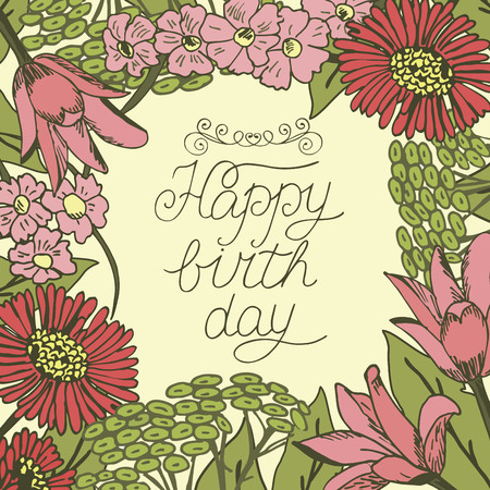 Greeting card with lettering Happy birthday. Floral background. Poster.