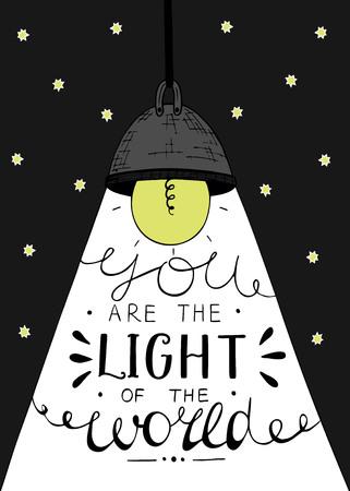 Hand belettering U het licht van de wereld, gemaakt op de ster achtergrond met gloeiende gloeilamp. Bijbelse achtergrond. Christian poster. Vector Illustratie