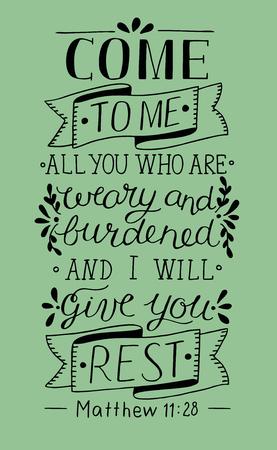 Hand lettering Kom naar mij. Bijbelse achtergrond. Christelijke poster. Wijnoogst Vector Illustratie