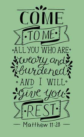 Hand lettering Come to Me. Biblical background. Christian poster. Vintage Vectores