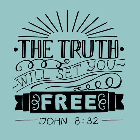 Handbelettering Waarheid zal je bevrijden. Bijbelse achtergrond. Christelijke poster. Nieuwe Testament. Schrift. Kaart. Moderne kalligrafie.