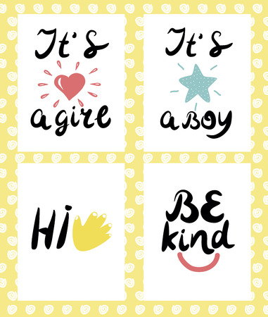 it s a boy: Four children s logo with handwriting. Hi Be kind It s boy girl . Baby background. Poster Emblem