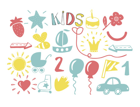 Color hand drawn icons for children. Kids logo. Doodle Illustration