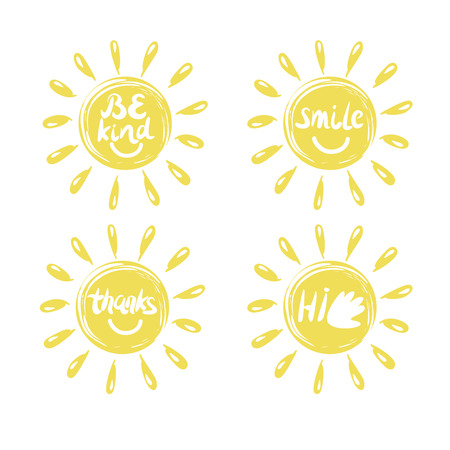 Four logo in the shape of a sun with a handwritten Hi, Thanks , Be kind, smile. Emblem. Children s background. Illustration
