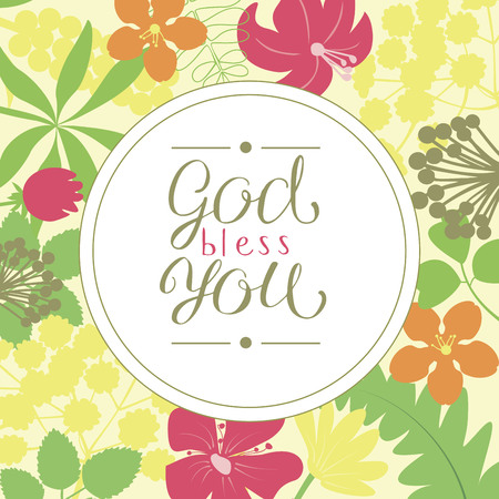 Hand lettering God bless you, is made on a floral background. Christian poster. Card. Congratulations. Modern calligraphy
